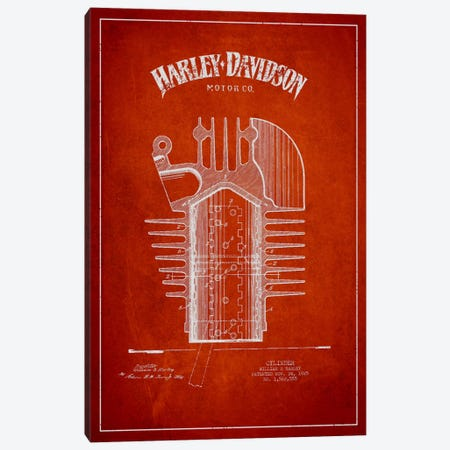 Harley-Davidson Red Patent Blueprint Canvas Print #ADP2478} by Aged Pixel Canvas Art Print