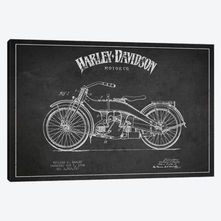 Harley-Davidson Charcoal Patent Blueprint Canvas Print #ADP2480} by Aged Pixel Canvas Artwork