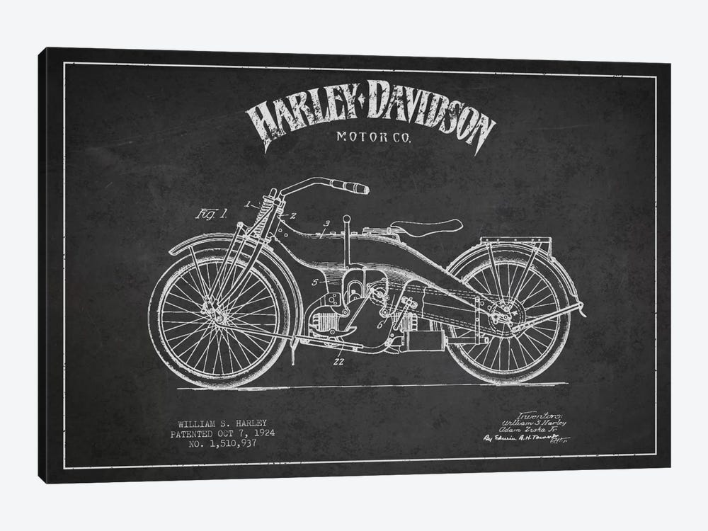 Harley-Davidson Charcoal Patent Blueprint by Aged Pixel 1-piece Canvas Art Print