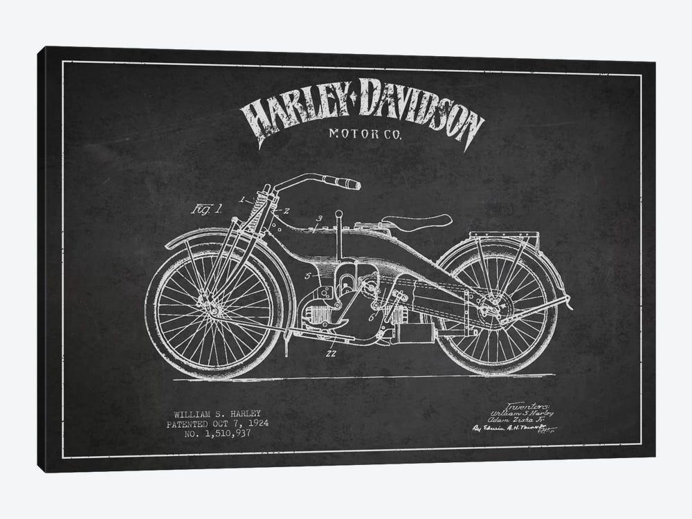 Harley-Davidson Charcoal Patent Blueprint by Aged Pixel 1-piece Canvas Art Print