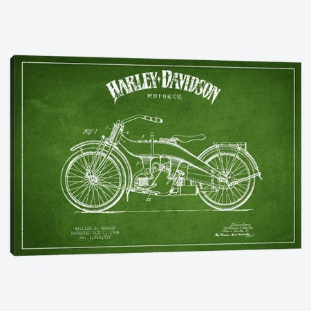 Harley-Davidson Green Patent Blueprint Canvas Print #ADP2481} by Aged Pixel Canvas Artwork