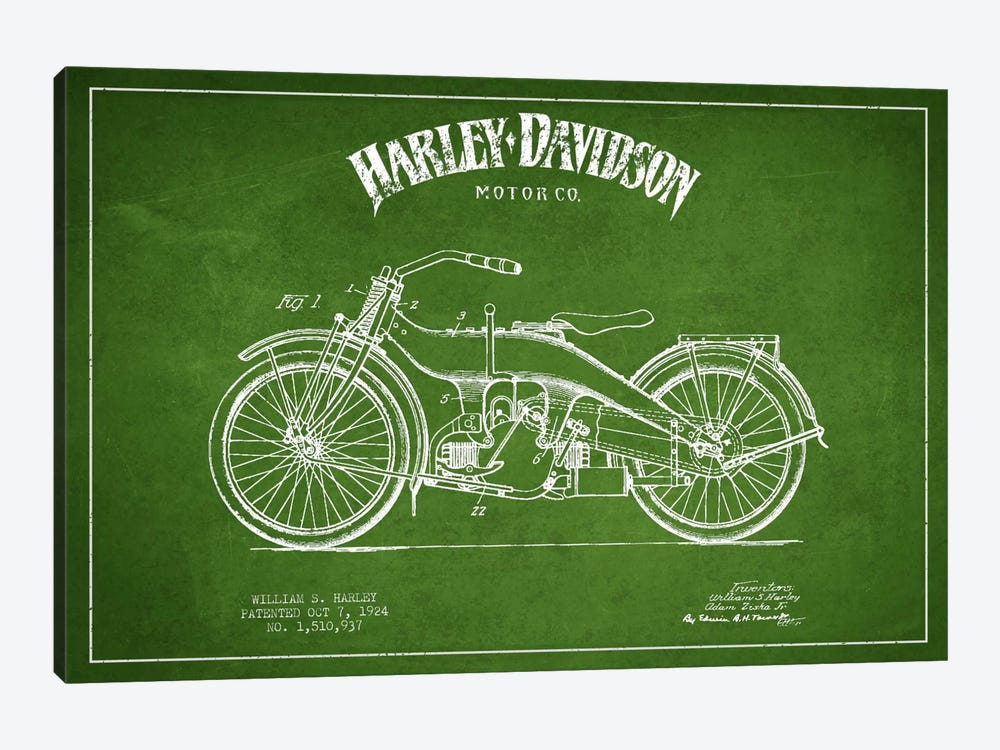 Harley-Davidson Green Patent Blueprint by Aged Pixel 1-piece Canvas Art