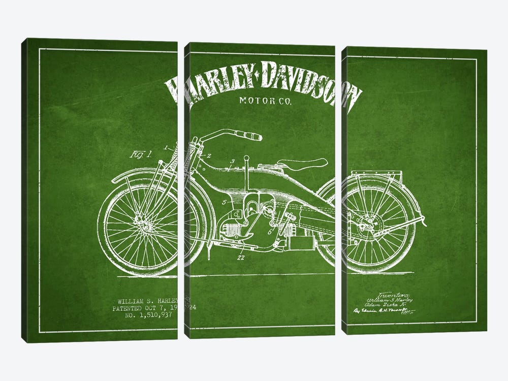 Harley-Davidson Green Patent Blueprint by Aged Pixel 3-piece Canvas Wall Art