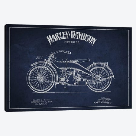 Harley-Davidson Navy Blue Patent Blueprint Canvas Print #ADP2482} by Aged Pixel Canvas Art