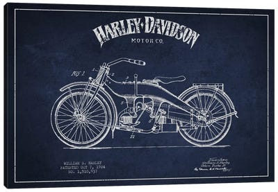 Harley-Davidson Navy Blue Patent Blueprint Canvas Print #ADP2482