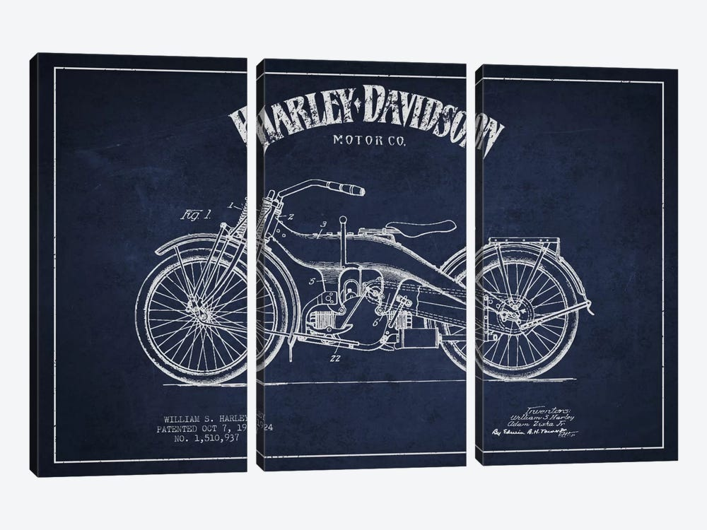 Harley-Davidson Navy Blue Patent Blueprint by Aged Pixel 3-piece Canvas Art Print