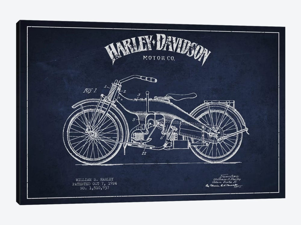 Harley-Davidson Navy Blue Patent Blueprint by Aged Pixel 1-piece Art Print