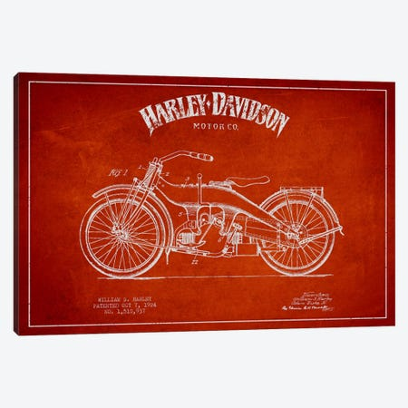 Harley-Davidson Red Patent Blueprint Canvas Print #ADP2483} by Aged Pixel Canvas Art