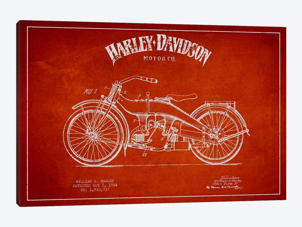 Harley-Davidson Red Patent Blueprint by Aged Pixel 1-piece Canvas Art