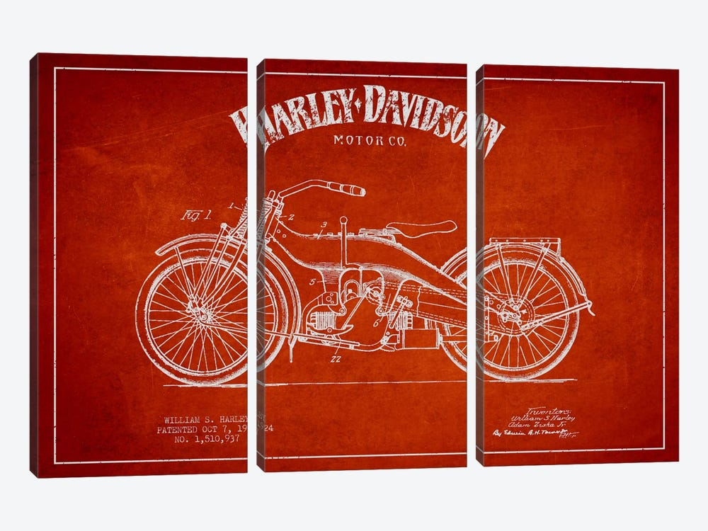 Harley-Davidson Red Patent Blueprint by Aged Pixel 3-piece Canvas Artwork