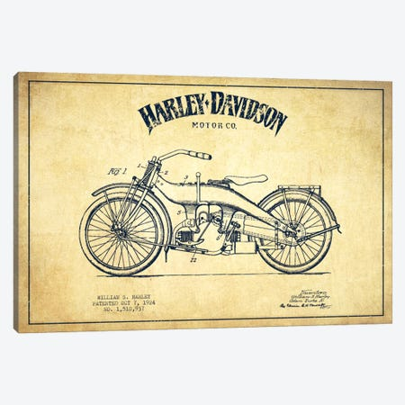 Harley-Davidson Vintage Patent Blueprint Canvas Print #ADP2484} by Aged Pixel Canvas Print