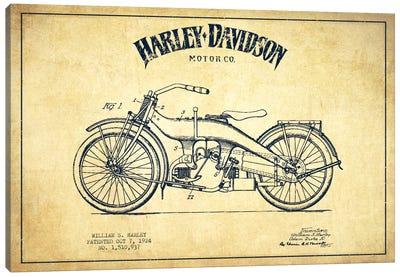 Harley-Davidson Vintage Patent Blueprint Canvas Print #ADP2484