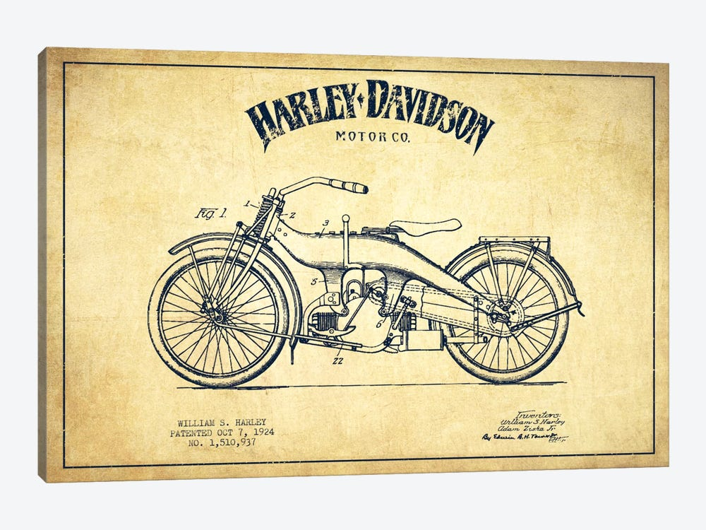 Harley-Davidson Vintage Patent Blueprint by Aged Pixel 1-piece Canvas Print