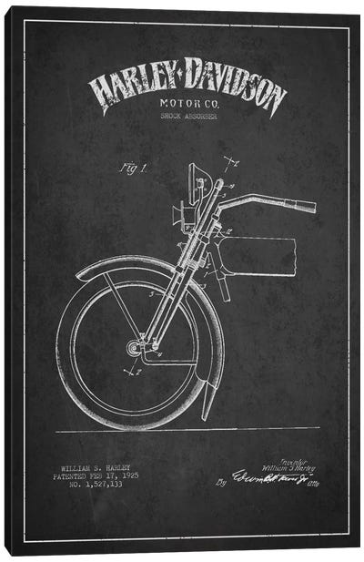 Harley-Davidson Motorcycle Shock Absorber Patent Application Blueprint (Charcoal) Canvas Print #ADP2485