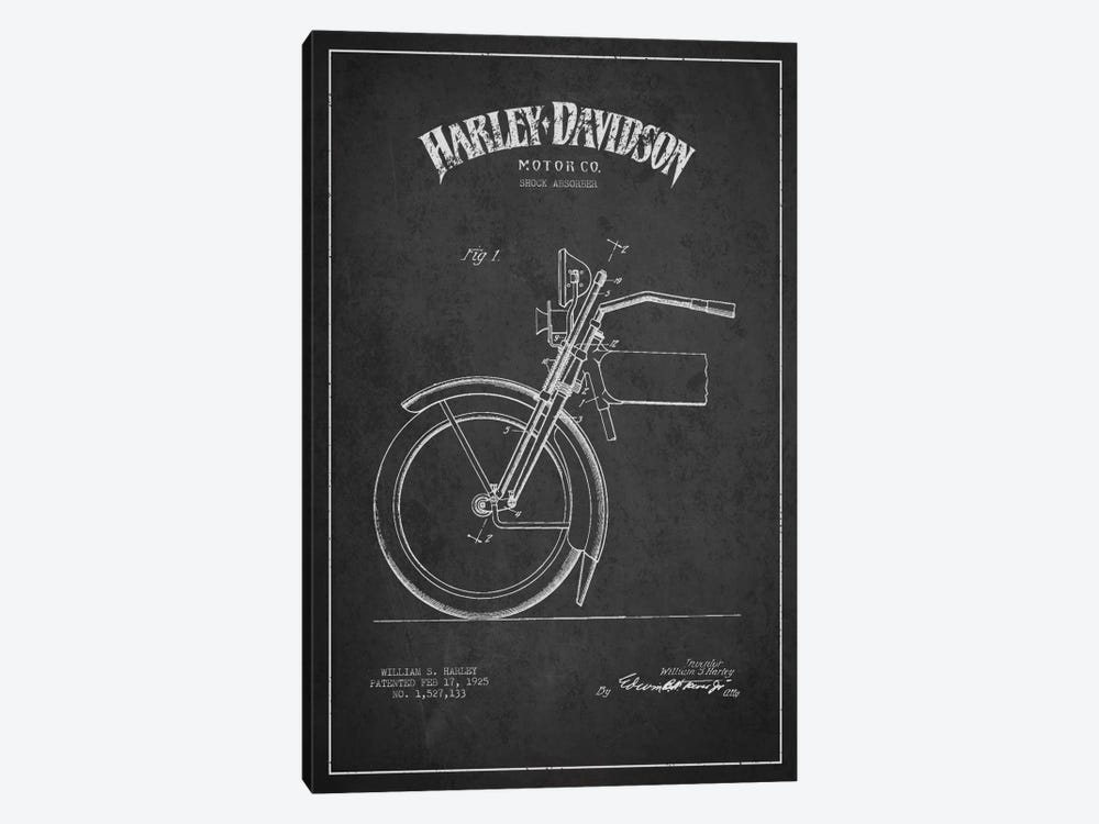 Harley-Davidson Motorcycle Shock Absorber Patent Application Blueprint (Charcoal) by Aged Pixel 1-piece Canvas Wall Art
