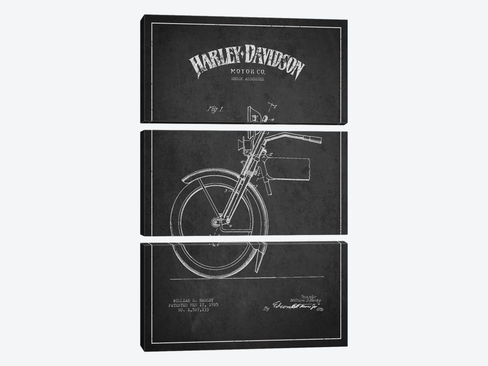 Harley-Davidson Motorcycle Shock Absorber Patent Application Blueprint (Charcoal) by Aged Pixel 3-piece Canvas Art