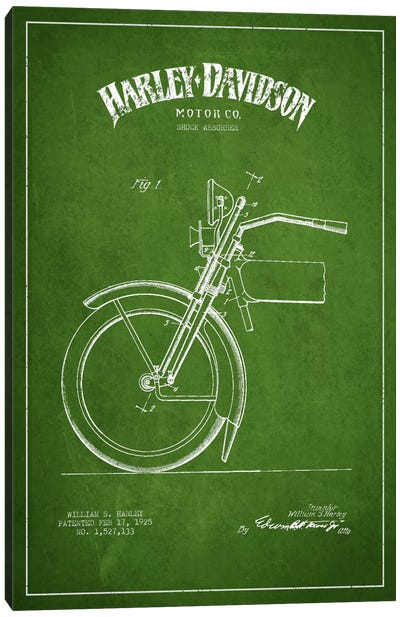 Harley-Davidson Motorcycle Shock Absorber Patent Application Blueprint (Green) Canvas Art Print