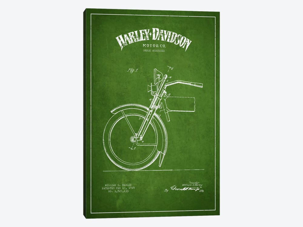 Harley-Davidson Motorcycle Shock Absorber Patent Application Blueprint (Green) by Aged Pixel 1-piece Canvas Print