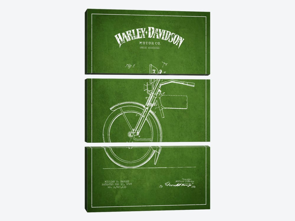 Harley-Davidson Motorcycle Shock Absorber Patent Application Blueprint (Green) by Aged Pixel 3-piece Art Print