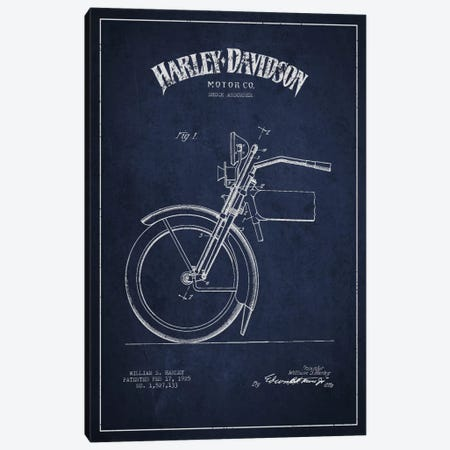 Harley-Davidson Motorcycle Shock Absorber Patent Application Blueprint (Navy) Canvas Print #ADP2487} by Aged Pixel Canvas Art Print