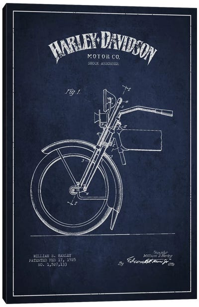 Harley-Davidson Motorcycle Shock Absorber Patent Application Blueprint (Navy) Canvas Art Print
