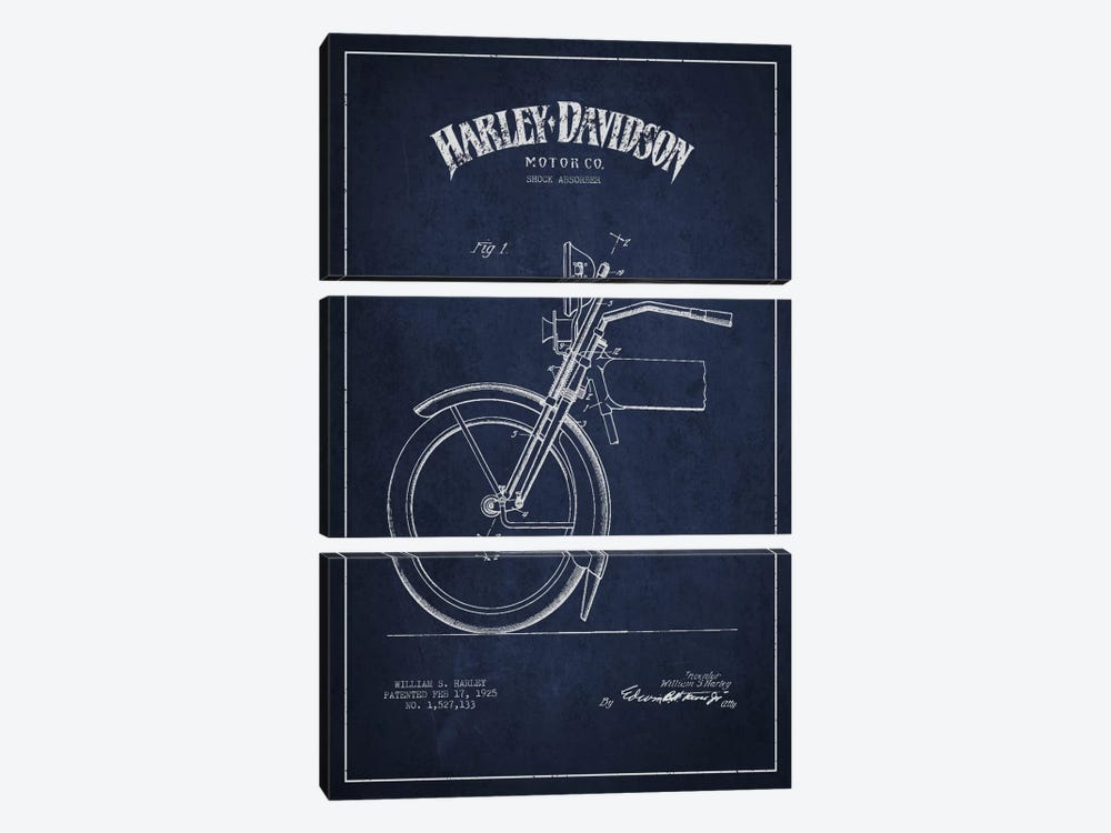 Harley-Davidson Motorcycle Shock Absorber Patent Application Blueprint (Navy) by Aged Pixel 3-piece Canvas Wall Art