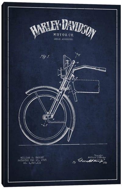 Harley-Davidson Motorcycle Shock Absorber Patent Application Blueprint (Navy) Canvas Art Print