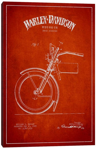 Harley-Davidson Motorcycle Shock Absorber Patent Application Blueprint (Red) Canvas Print #ADP2488