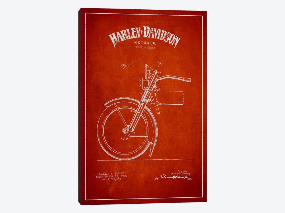 Harley-Davidson Motorcycle Shock Absorber Patent Application Blueprint (Red) by Aged Pixel 1-piece Canvas Print
