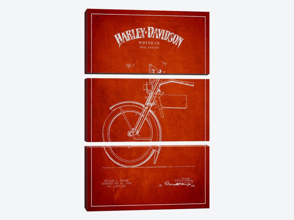 Harley-Davidson Motorcycle Shock Absorber Patent Application Blueprint (Red) by Aged Pixel 3-piece Canvas Art Print