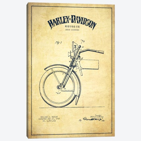 Harley-Davidson Motorcycle Shock Absorber Patent Application Blueprint (Vintage Beige) Canvas Print #ADP2489} by Aged Pixel Canvas Wall Art