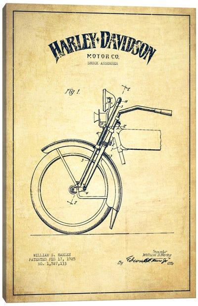 Harley-Davidson Motorcycle Shock Absorber Patent Application Blueprint (Vintage Beige) Canvas Print #ADP2489