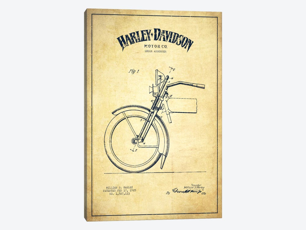 Harley-Davidson Motorcycle Shock Absorber Patent Application Blueprint (Vintage Beige) by Aged Pixel 1-piece Canvas Artwork