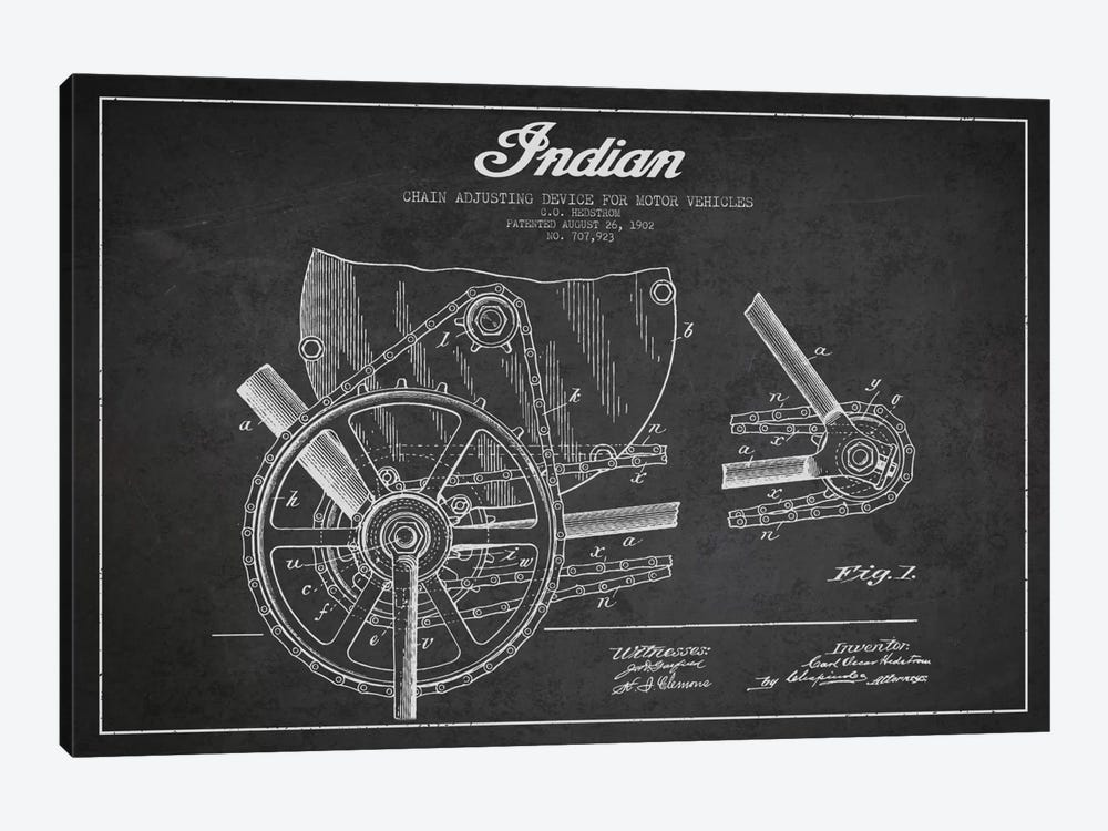 Indian Charcoal Patent Blueprint by Aged Pixel 1-piece Canvas Art