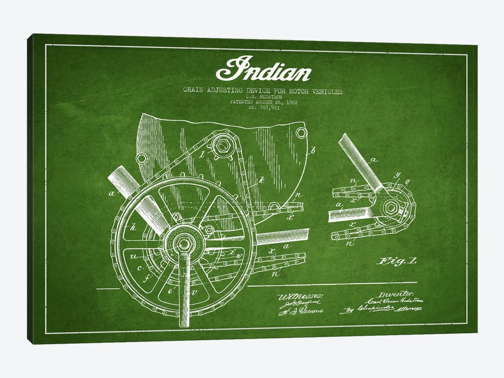 Indian Green Patent Blueprint by Aged Pixel 1-piece Art Print