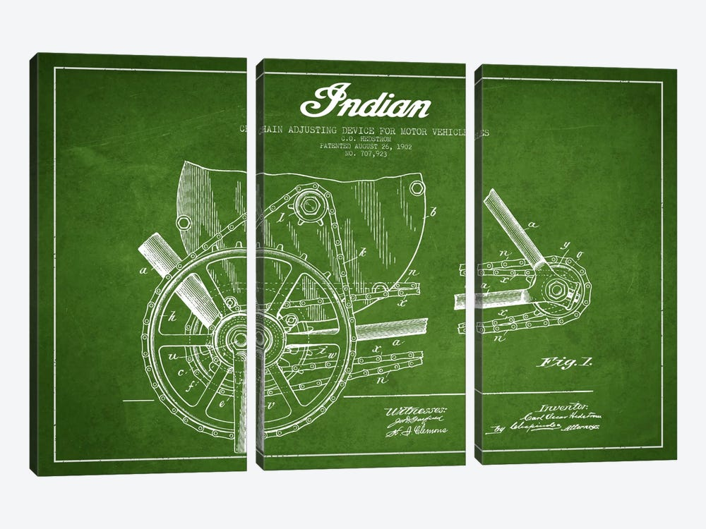 Indian Green Patent Blueprint by Aged Pixel 3-piece Art Print