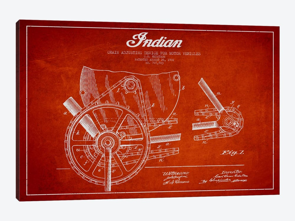 Indian Red Patent Blueprint by Aged Pixel 1-piece Canvas Art Print