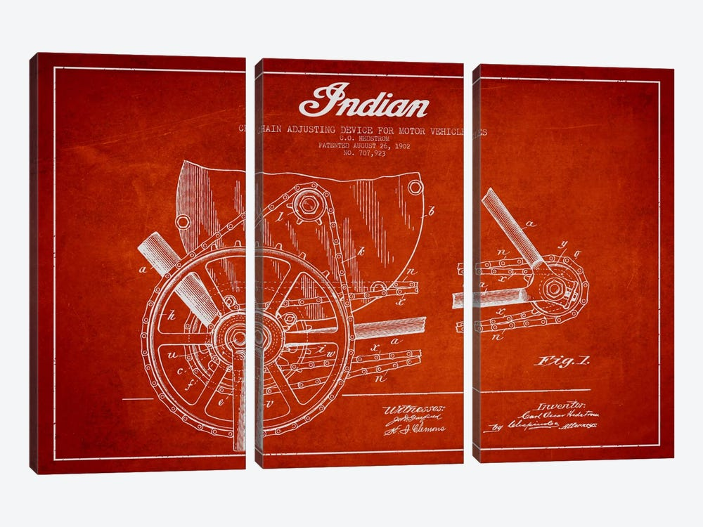 Indian Red Patent Blueprint by Aged Pixel 3-piece Canvas Art Print