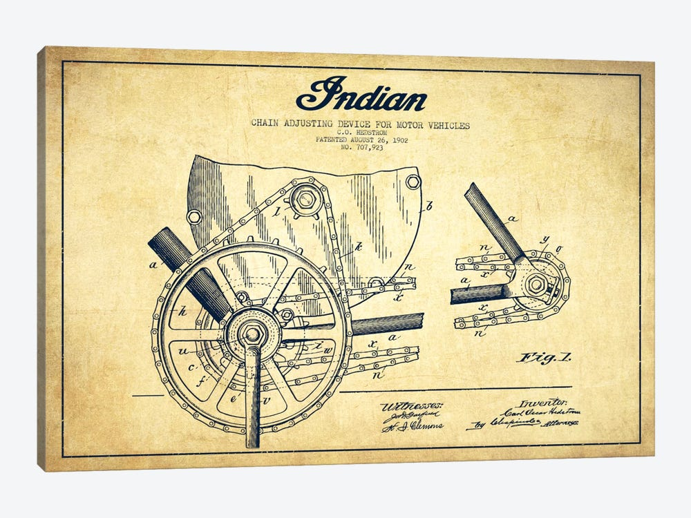 Indian Vintage Patent Blueprint by Aged Pixel 1-piece Canvas Art