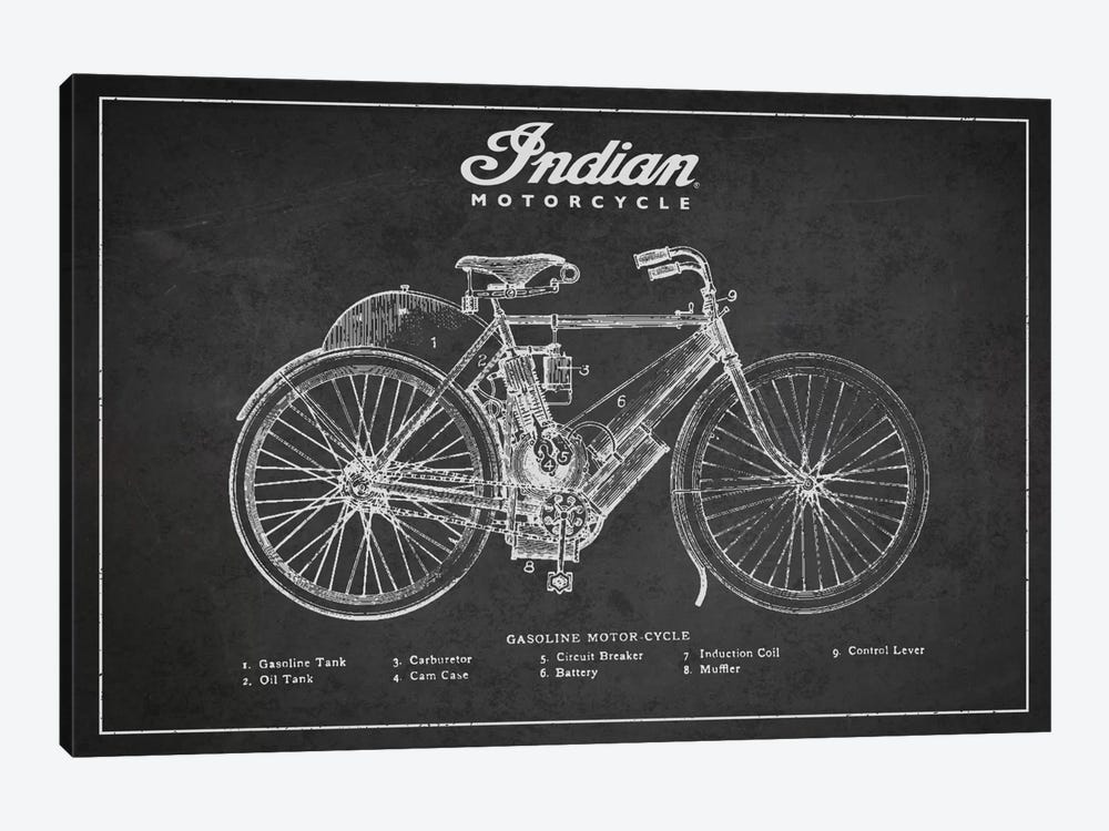 Indian Charcoal Patent Blueprint 1-piece Art Print