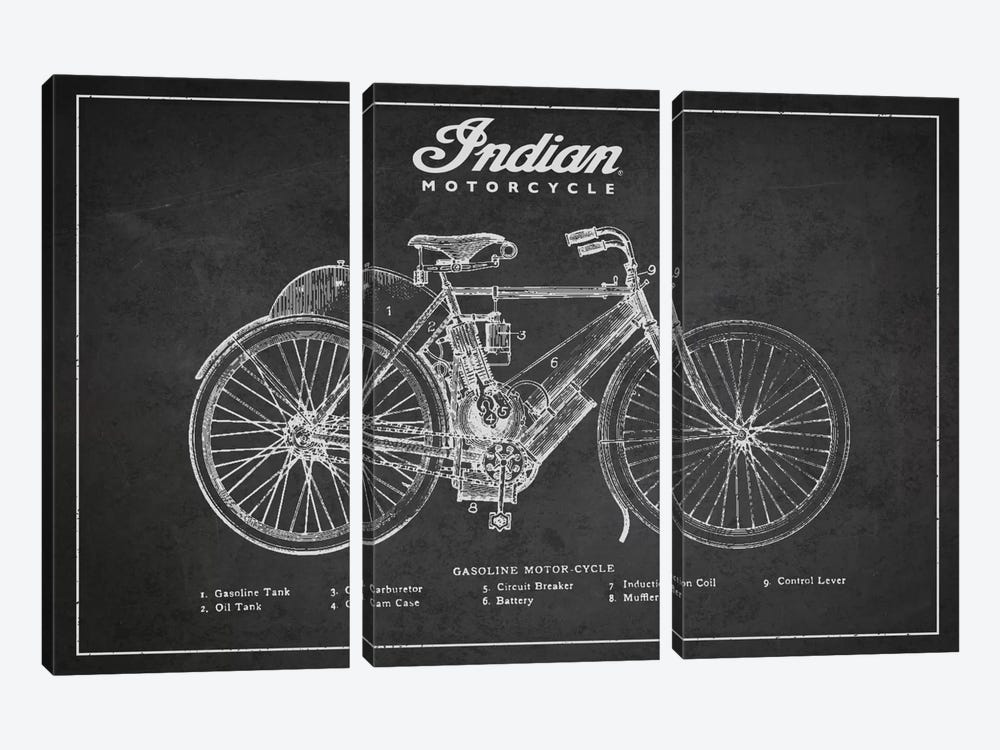 Indian Charcoal Patent Blueprint 3-piece Canvas Print