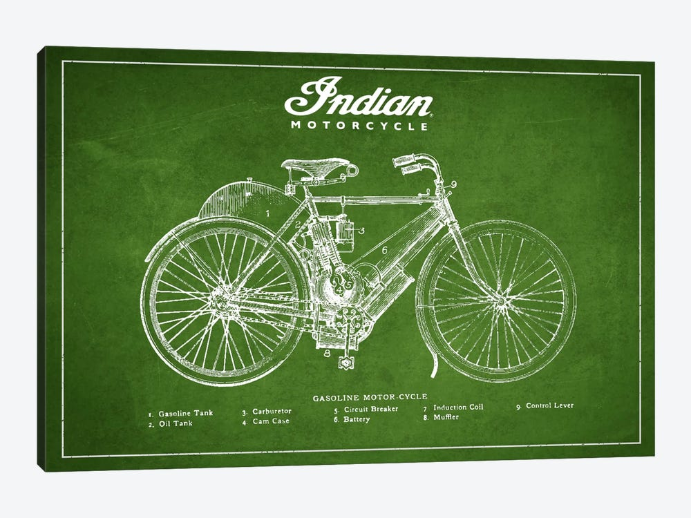 Indian Green Patent Blueprint by Aged Pixel 1-piece Canvas Art