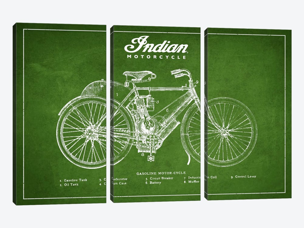 Indian Green Patent Blueprint by Aged Pixel 3-piece Canvas Artwork