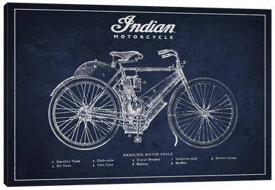 Indian Navy Blue Patent Blueprint Canvas Art Print