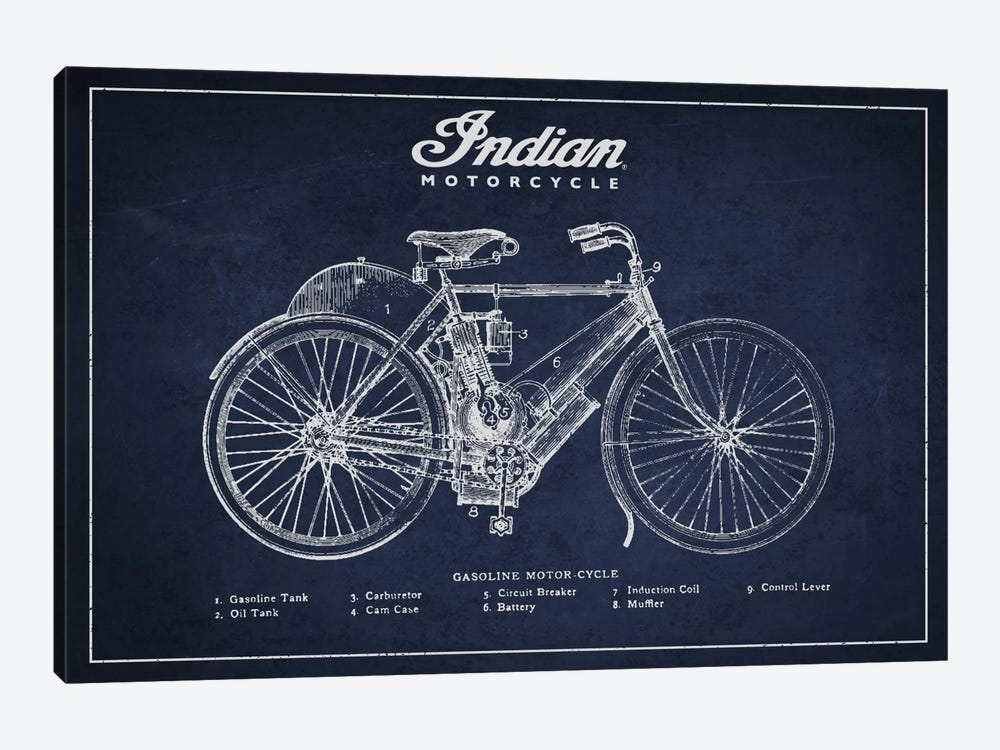 Indian Navy Blue Patent Blueprint by Aged Pixel 1-piece Canvas Art Print