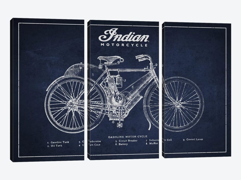Indian Navy Blue Patent Blueprint by Aged Pixel 3-piece Canvas Art Print