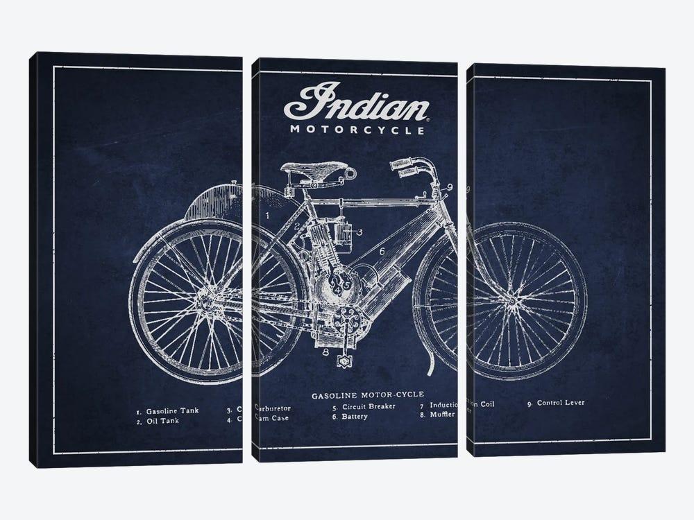 Indian Navy Blue Patent Blueprint by Aged Pixel 3-piece Canvas Art Print