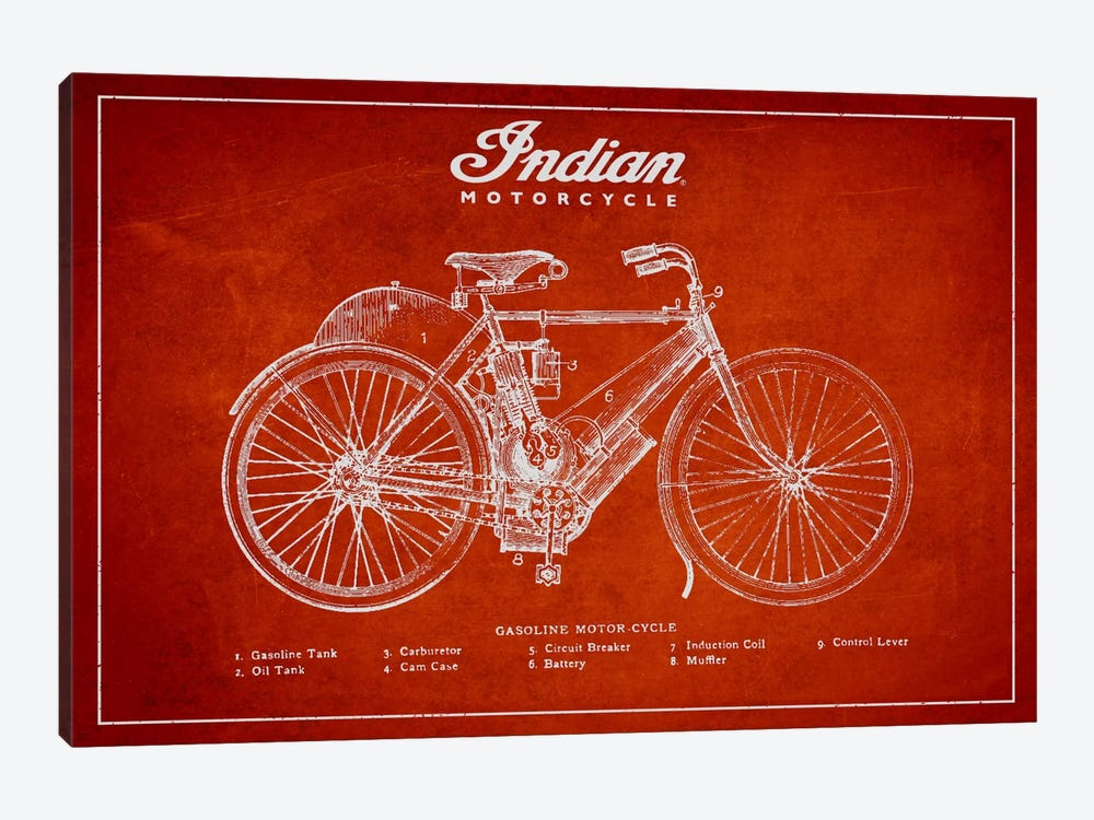 Indian Red Patent Blueprint by Aged Pixel 1-piece Canvas Art