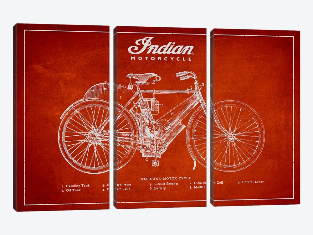 Indian Red Patent Blueprint by Aged Pixel 3-piece Canvas Wall Art