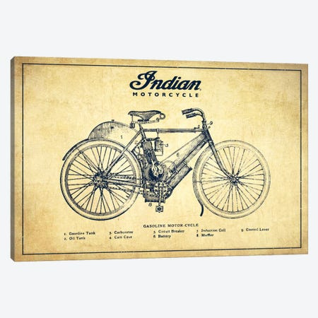 Indian Vintage Patent Blueprint Canvas Print #ADP2499} by Aged Pixel Canvas Print